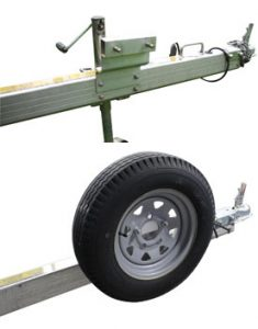 Optional spare tire carrier for CargoMax trailer.